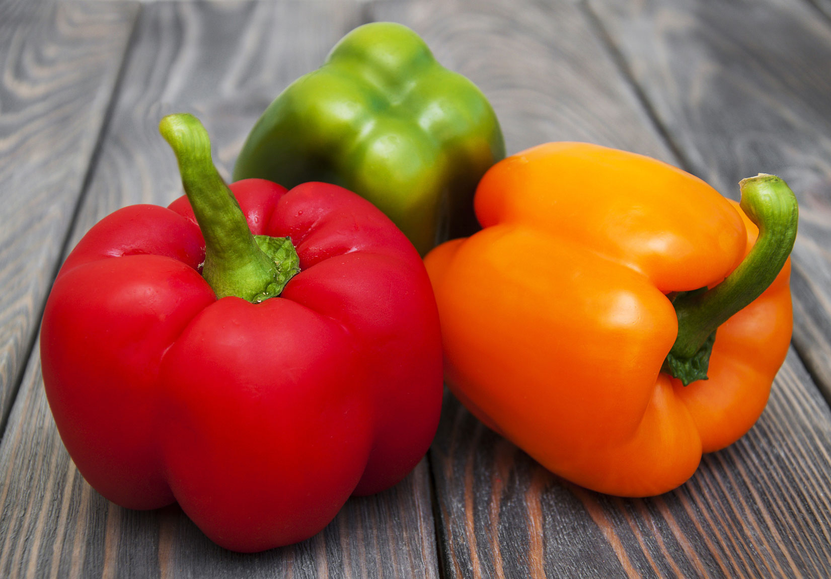 green, red, and yellow bell peppers.
